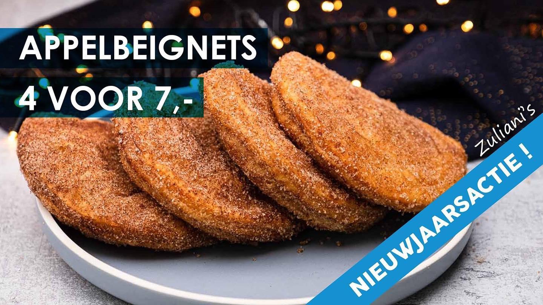 Appelbeignets van Zuliani's, Love at First Bite! 4 voor € 7,-Deze actie is de hele maand januari geldig! Zolang de voorraad strekt.